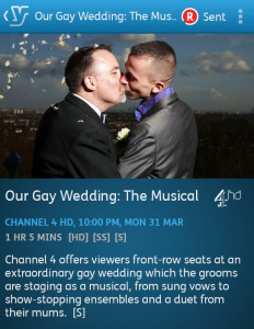 Our Gay Wedding: The Musical (YouView app screenshot)