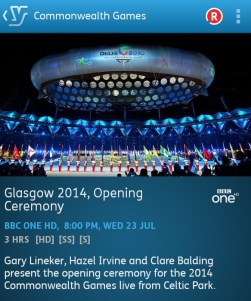 Commonwealth Games Opening Ceremony (YouView app screenshot)