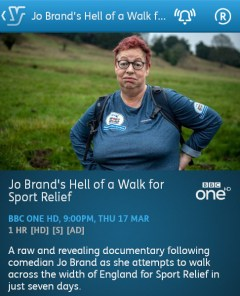 Jo Brand's Hell of a Walk for Sport Relief - 17-03-2016 - YouView app