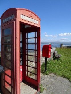 Red telephone box at Toward