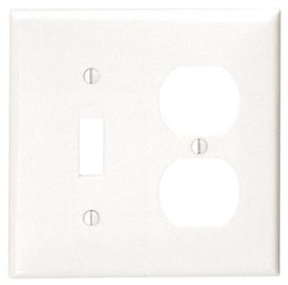 LEVITON 80705-W : WHITE NYL 2 GANG SWITCH/DUPLEX PLATE