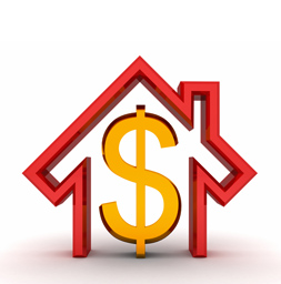 Dollar sign in red outline of house