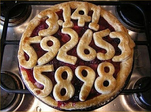 Baked pi pie with numbers