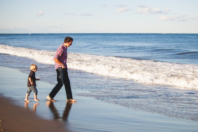 Dad with kid on beach