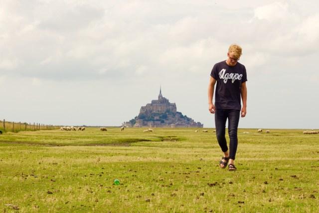 teen in france walking in grass