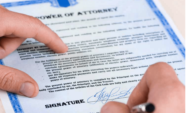Power of attorney signing