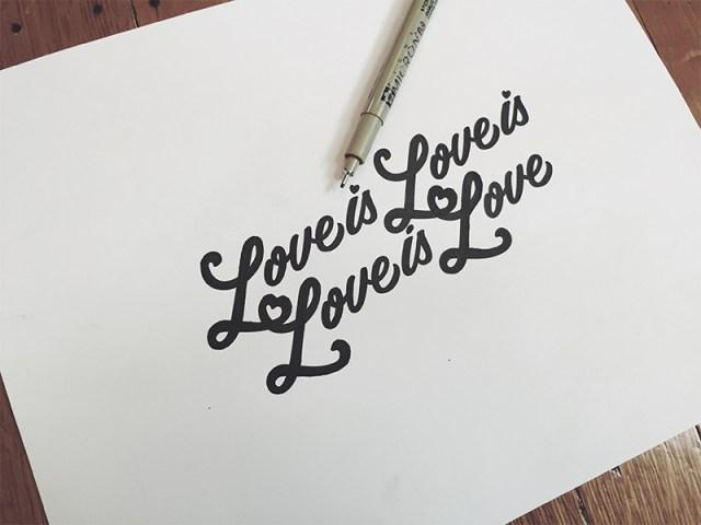 Love is love written on card