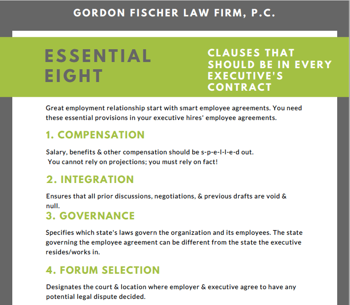 Executive Employee Agreement Essential 8 ...