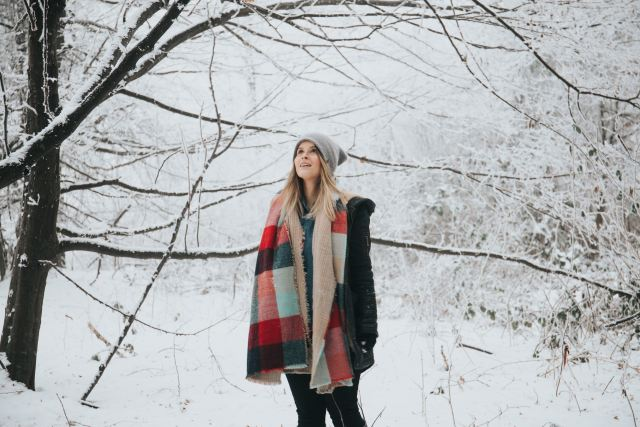 woman in winter with scarf