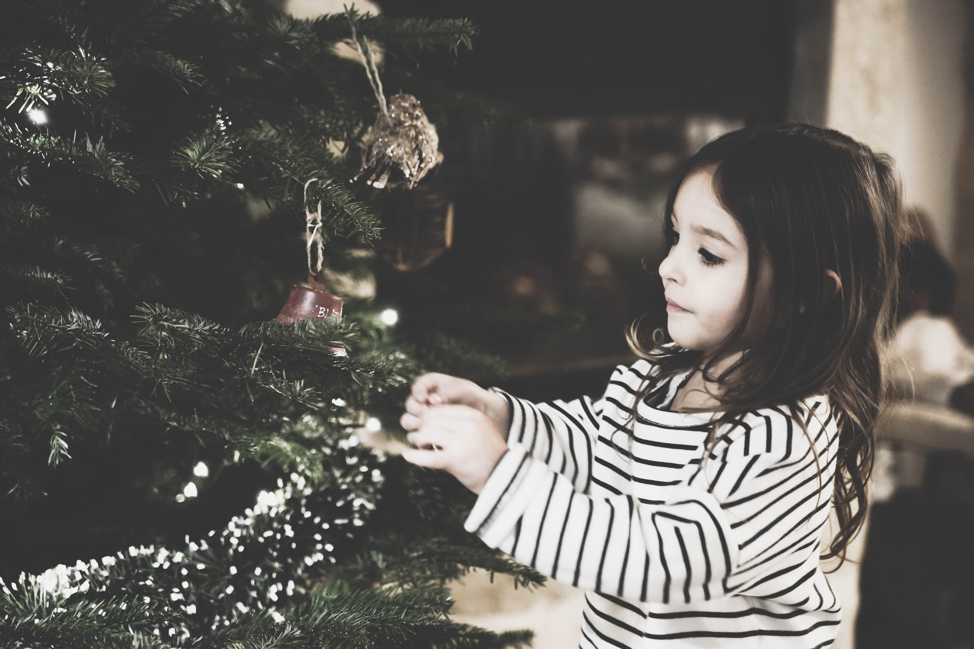Girl hanging ornaments on tree