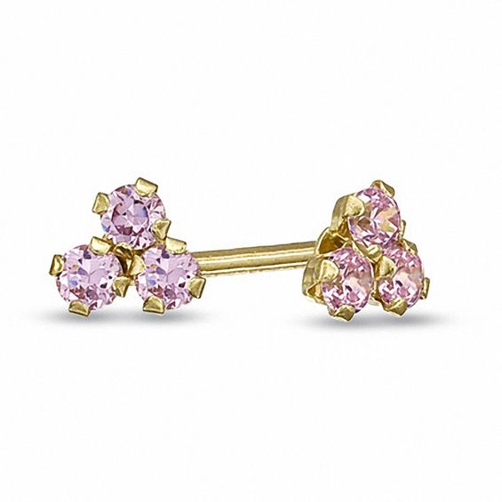 Child's Pink Cubic Zirconia Stud Earrings in 14K Gold