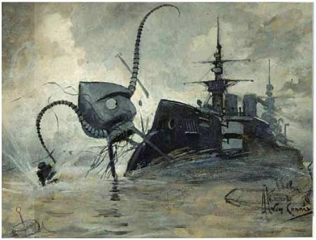 """""""Drawing by Henrique Alvim Corréa for the novel The War of the Worlds, showing a Martian fighting-machine battling with the warship Thunder Child."""" Click the link for the source of the picture and the quote."""