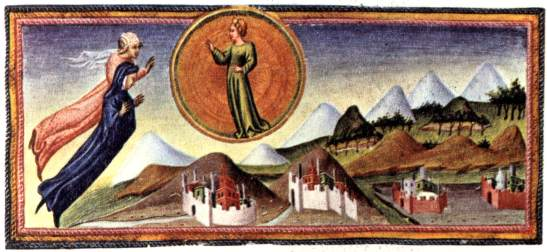 Lady Cunizza da Romagno, in a miniature by Giovanni di Paolo (1400?-1482?).