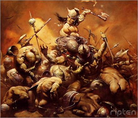 Frazetta Barbarian painting