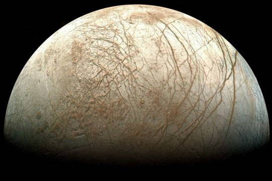 A gorgeous shot of Europa, released by NASA.