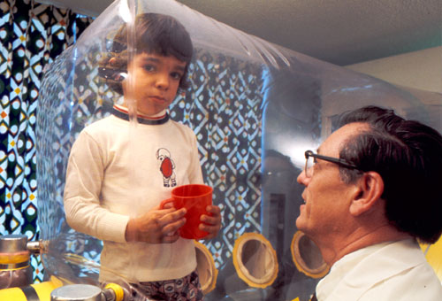 "David Vetter, the famous ""boy in the bubble"" from the 1970s. The ""germ isolator"" bubble treatment mentally damaged him, as explained in this article about his story."