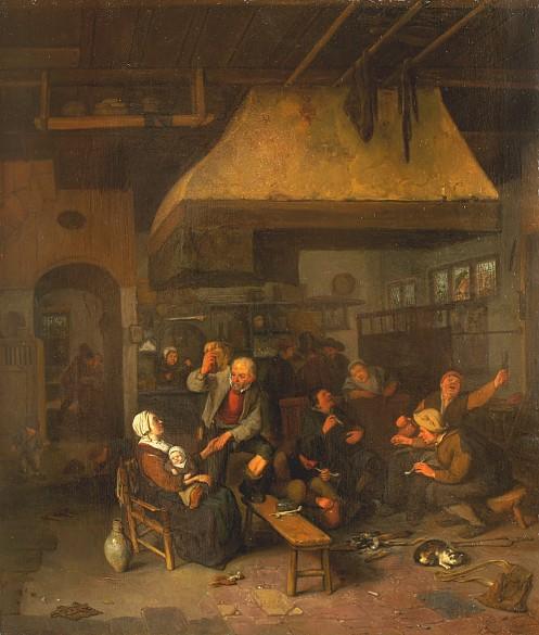 Cornelius Dusart: Tavern scene. (Oil painting, c. 1680.) Click image for source.