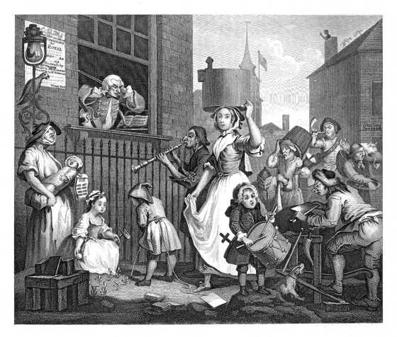 Hogarth's The Enraged Musician.
