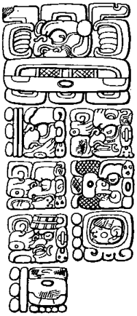 """East side of stela C, Quirigua"" by Maudslay - Cyrus Thomas (1904) Mayan calendar Systems II. Licensed under Public domain via Wikimedia Commons. Click for source."
