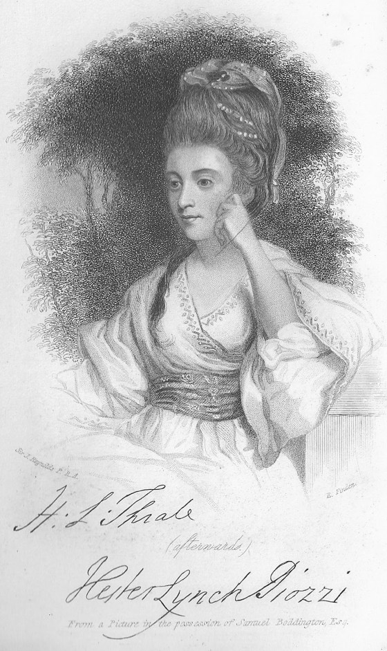 Hester Lynch Thrale, Henry Thrale's wife.