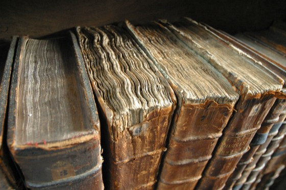Old Book Bindings. (Photo by Tom Murphy VII, click for source.)