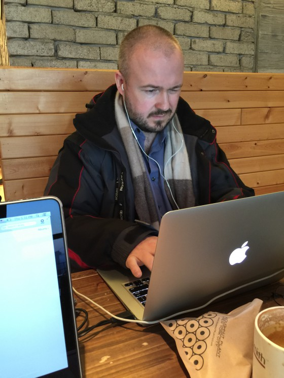 """That's me playing """"The Job Application Form Crashed My MacBook Again Blues"""" at a café in the area. But not the good café I mention later. This was kind of a crappy, unheated café with mediocre coffee."""