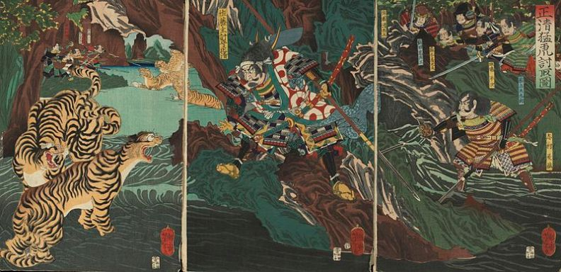 Apparently Kiyomasa didn't spend all his time conquering: this image depicts him hunting tigers for sport in Korea. Click the image to visit the source page.