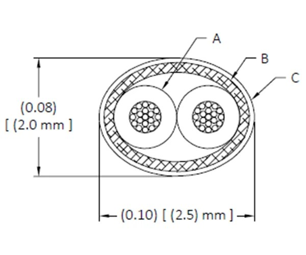 Drawing: DXN2603 (26 AWG) — GORE® Shielded Twisted Pair