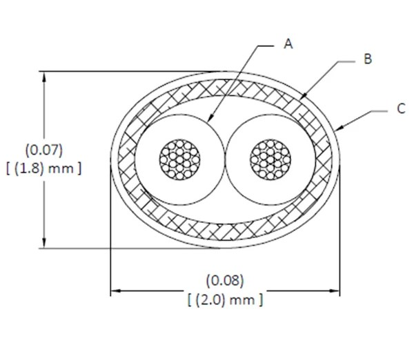 Drawing: DXN2604 (28 AWG) — GORE® Shielded Twisted Pair