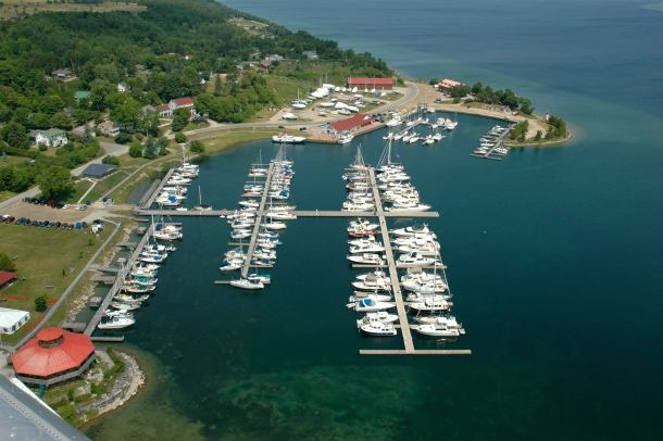 Arial view of Gore Bay harbour looking north.