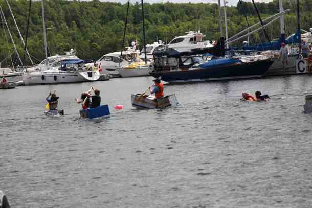 Cardboard boats racing in Gore Bay.