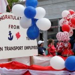 Manitoulin Transport themed float during a Canada Day parade in Gore Bay.