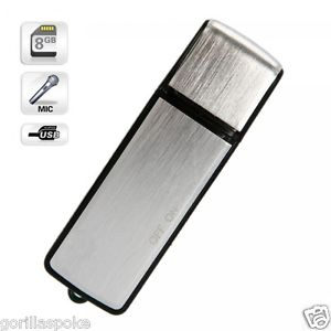 SPY USB Digital Voice Recorder Key Chain – Silver – (4GB / 8GB / 16GB) – Windows & Mac Compatible