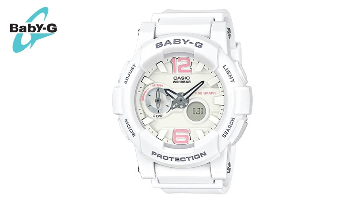 Beach White Thermometer Moon Casio Baby-G Tide Graph Sport