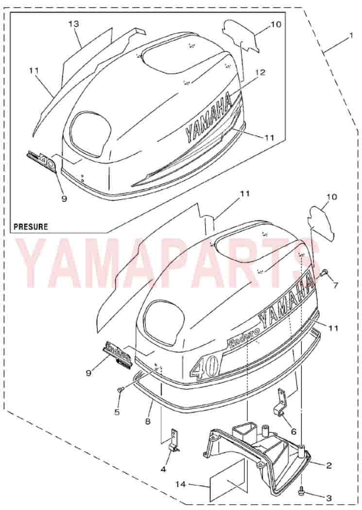 2 STROKE 40HP YAMAHA E40X OUTBOARD MOTOR SPARE PARTS