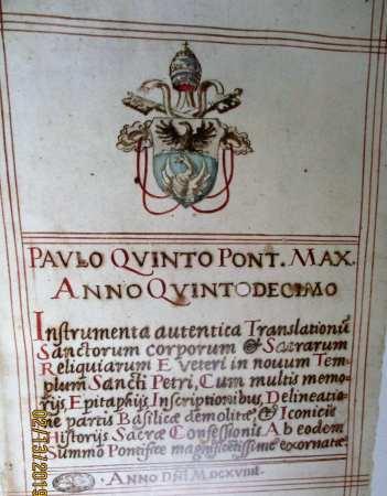 Manuscript title-page of INSTRUMENTA AUTENTICA