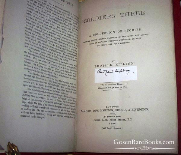 Kipling Rudyard Soldiers Three 1890