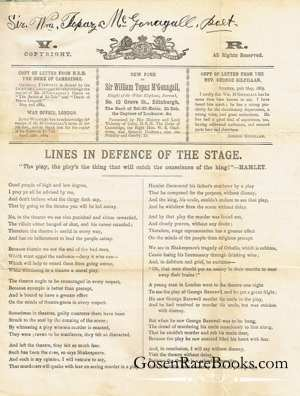 McGonagall, Sir William Topaz - Lines in Defence of the Stage