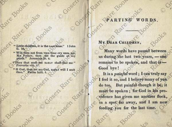 Parting Words to a Little Flock - Clergyman - 1846