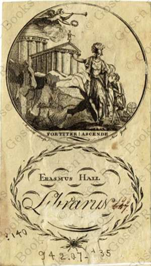 Erasmus Hall Bookplate Engraved by Maverick, ca. 1780