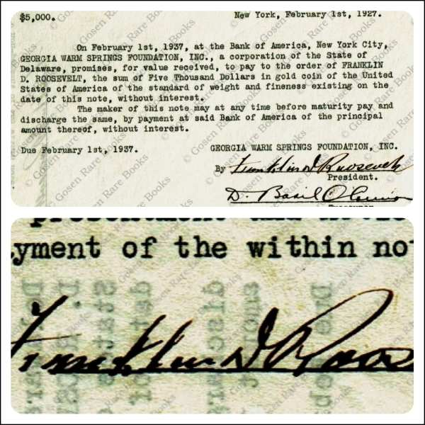 Promissory Note Signed Twice by Franklin D Roosevelt