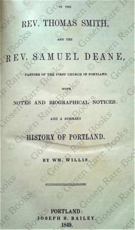 A History of Portland Maine from Journals of the Rev Thomas Smith and Rev Samuel Deane 1849