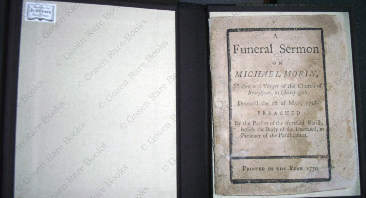 A Funeral Sermon on Michael Morin