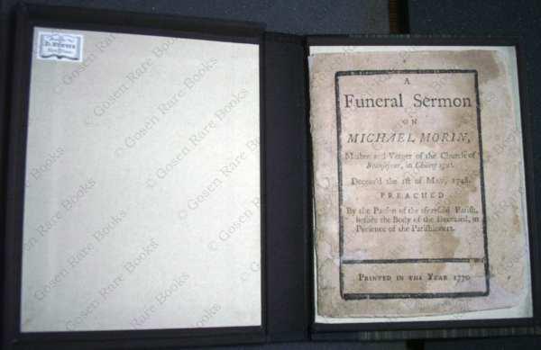 A Funeral Sermon on Michael Morin