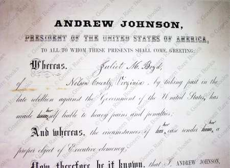 Andrew Johnson Presidential Pardon of Virginia Woman for Slavery August 23 1865