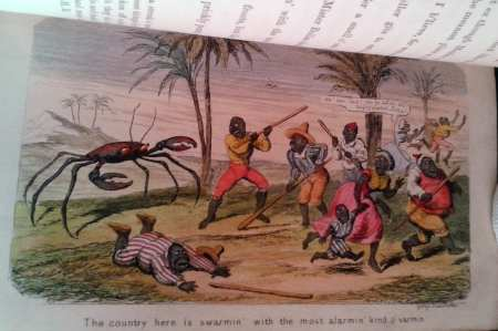Illustration showing natives fleeing a giant crab.