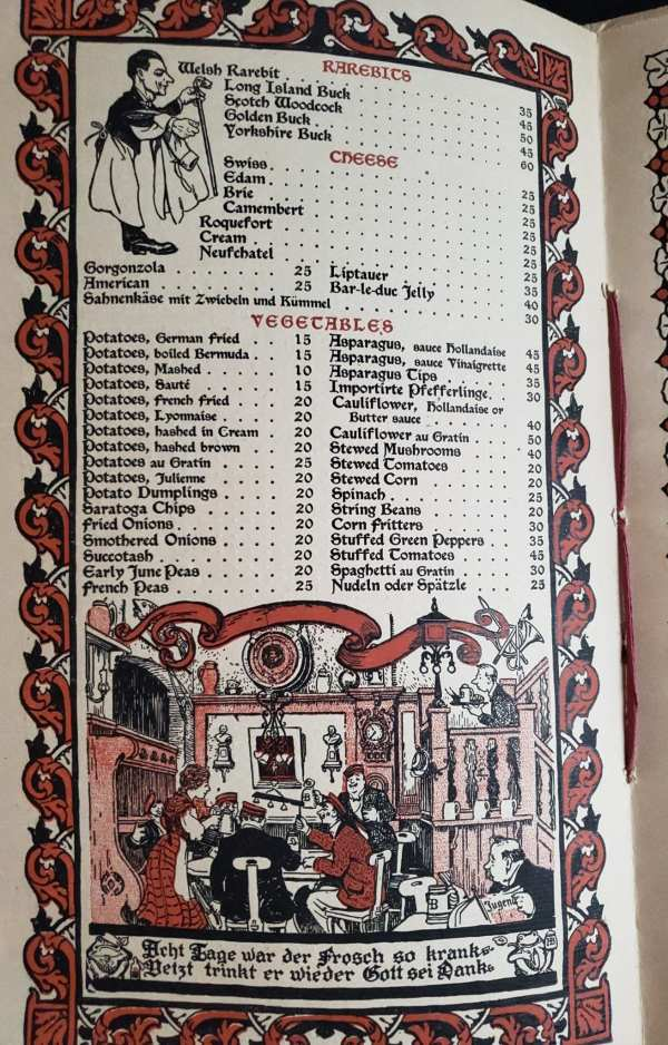 The menu page offering rarebits, cheese and vegetables, with illustrations of happy customers.