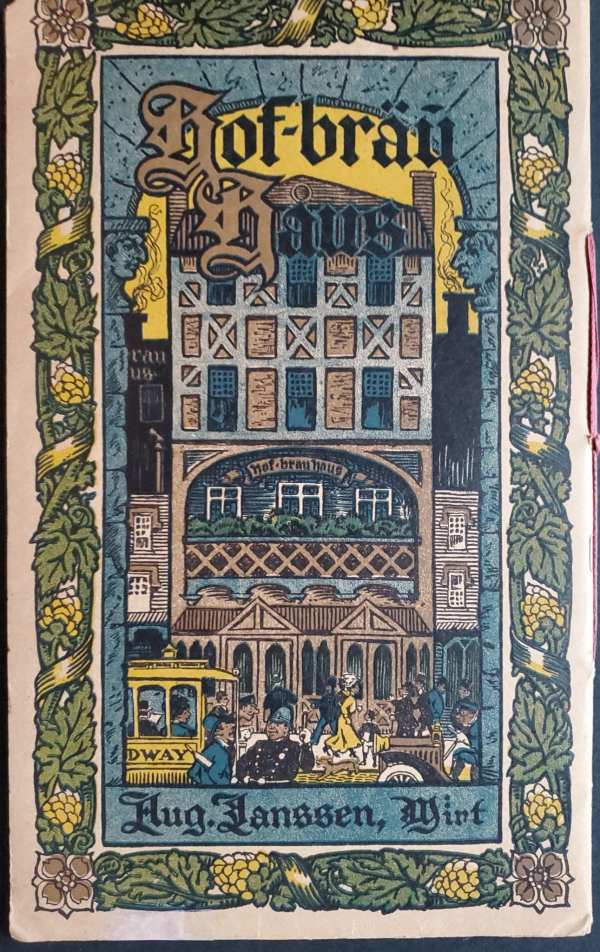 The back cover of the menu, showing a view from the avenue of August Janssen's famous German restaurant, with a policeman directing a pedestrian to the restaurant with his nightstick.