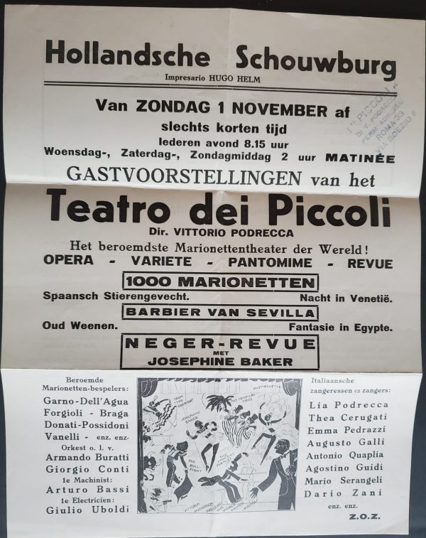 A detail of the Dutch poster announcing a performance by puppets of an all-black revue styled after Josephine Baker, listing all the commpany participants in Dr. Podrecca's famous presentations.