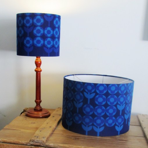Handmade lampshades in 1960s vintage fabrics